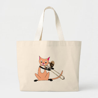 Cat Playing the Trombone Large Tote Bag