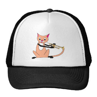 Cat Playing the Trumpet Trucker Hat