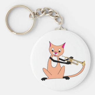 Cat Playing the Trumpet Key Chains