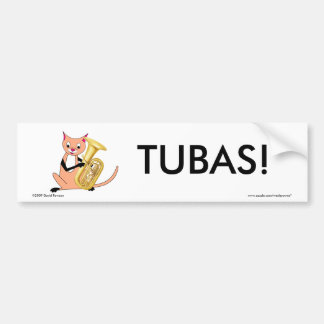 Cat Playing the Tuba Bumper Sticker