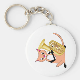 Cat Playing the Tuba Key Chain
