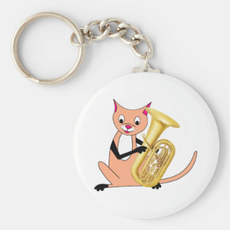 Cat Playing the Tuba Keychains