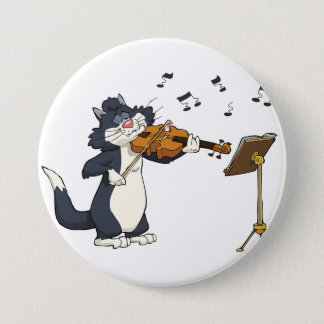 Cat Playing The Violin Pinback Button