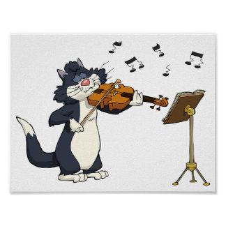 Cat Playing The Violin Poster