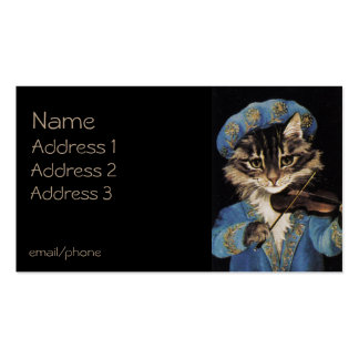 Cat Playing Violin Double-Sided Standard Business Cards (Pack Of 100)