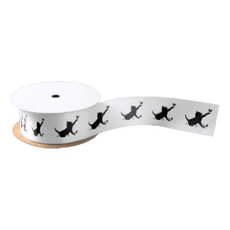 Cat Playing with a Butterfly 1.5 In. Satin Ribbon