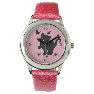 Cat playing with butterflies wrist watch
