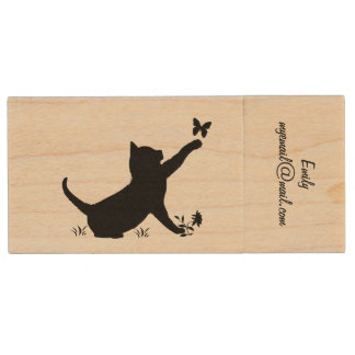 Cat Playing with Butterfly Email Customizable Wood Flash Drive