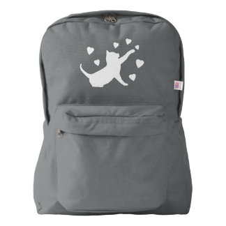 Cat Playing with Hearts in Silhouette Backpack