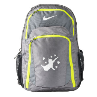 Cat Playing with Hearts in Silhouette Nike Backpack