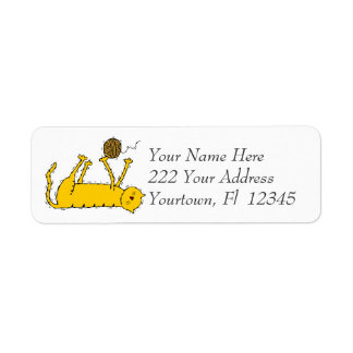 Cat Playing With Yarn  Art Design Address Labels