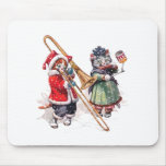 Cat Plays Trombone in the Snow Mouse Pad