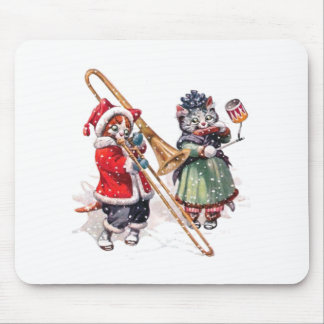 Cat Plays Trombone in the Snow Mousepad