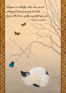 Cat Plum Blossoms Butterflies Japanese Birthday Card