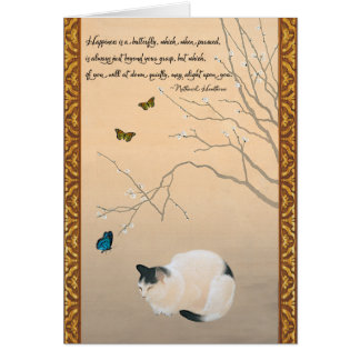 Cat, Plum Blossoms,& Butterflies Japanese Birthday Card