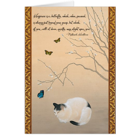 Cat Plum Blossoms Butterflies Japanese Birthday Card – Japanese Birthday Cards