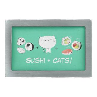Cat plus Sushi equals Cuteness! Rectangular Belt Buckles