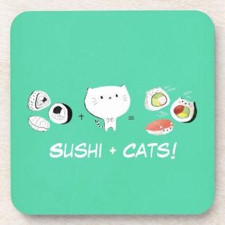 Cat plus Sushi equals Cuteness! Coasters