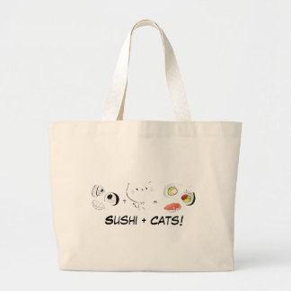 Cat plus Sushi equals Cuteness! Large Tote Bag