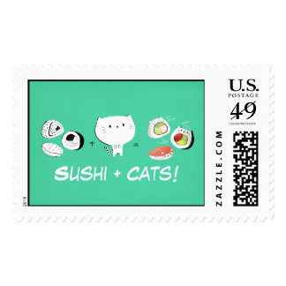 Cat plus Sushi equals Cuteness! Postage Stamp