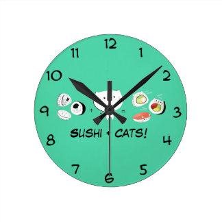 Cat plus Sushi equals Cuteness! Round Clock