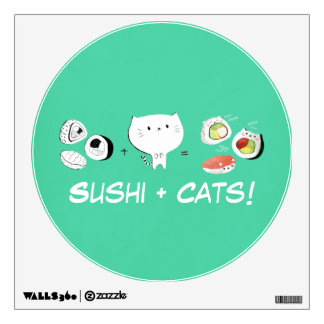 Cat plus Sushi equals Cuteness! Wall Sticker