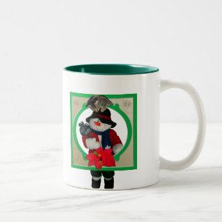 Cat & Poinsettia Picture Frame Mug
