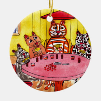 Cat Poker Ceramic Ornament