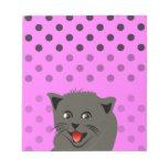 Cat_polka dot_baby girl_pink_desing memo notepad