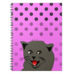 Cat_polka dot_baby girl_pink_desing note book