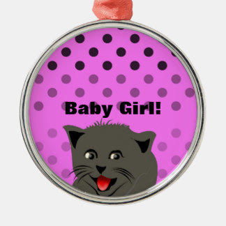 Cat_polka dot_baby girl_pink_desing round metal christmas ornament