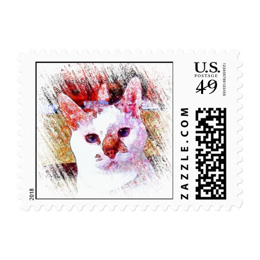 CAT PORTRAIT ANGEL Postage Stamp