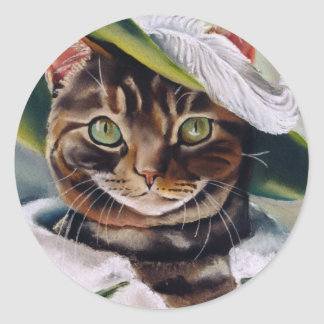Cat Portrait Classic Round Sticker