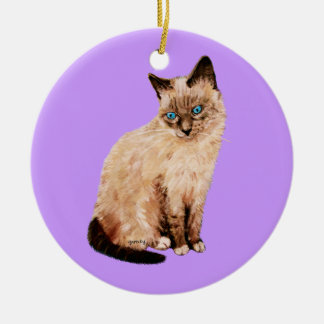 Cat Portrait Double-Sided Ceramic Round Christmas Ornament
