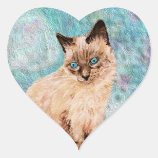Cat Portrait Heart Sticker