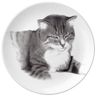 Cat Portrait in Pencil, Drawing, Pet Dinner Plate