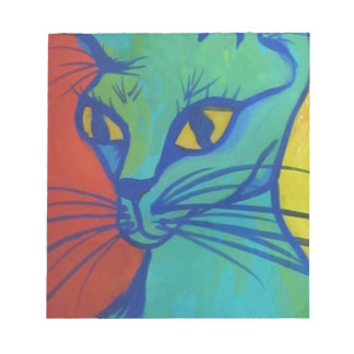 cat portrait in primary colors notepad