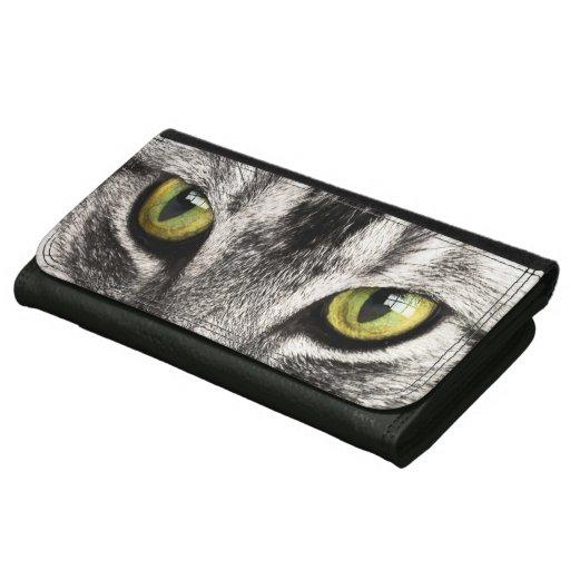 Cat Portrait Leather Wallet For Women