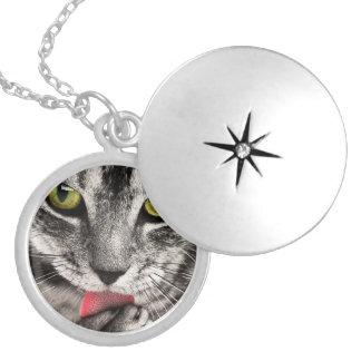 Cat Portrait Locket Necklace