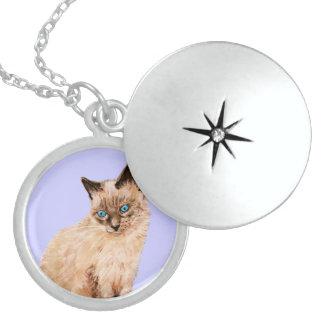 Cat Portrait Round Locket Necklace