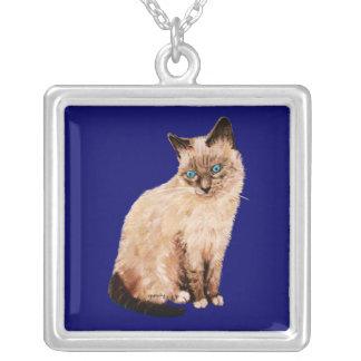 Cat Portrait Square Pendant Necklace