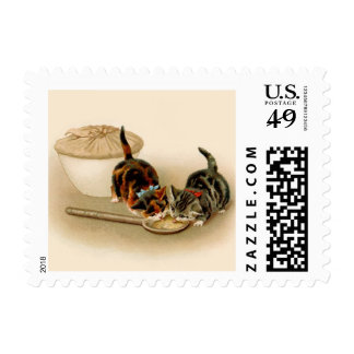 cat postage stamp cats lick spoon from pie