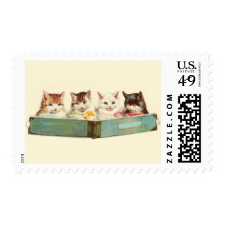 cat postage stamp cats read book sing