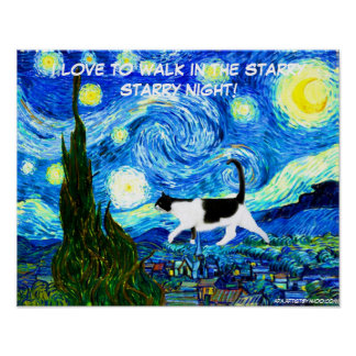 CAT POSTER - I LOVE TO WALK IN THE STARRY STARRY N