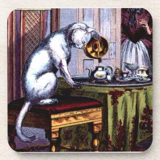 Cat Pouring Tea Beverage Coaster