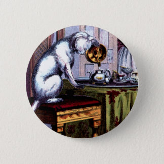 Cat Pouring Tea Pinback Button