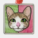 Cat Power Illustration Square Metal Christmas Ornament