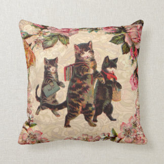 Cat Pretty Vintage Antique Kittens Throw Pillow