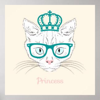 Cat princess cute illustration poster