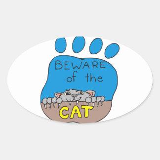 Cat Print Image Oval Sticker